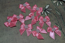 SATIN RIBBON BOW WITH PEARLS CORAL  QTY 10 EMBELLISHMENTS CRAFT SEWING