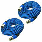 2 QTY BLUE Premium 50 FT XLR 3Pin Microphone Male to Female EXTENSION Cable cord
