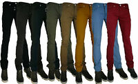 MENS CHINO TWILL SKINNY JEANS SAND GREY ROYAL BLUE SKY BLUE MUSTARD RED
