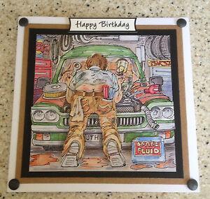 Handmade Happy Birthday 3D decoupage car mechanic, garage,repair card humorous