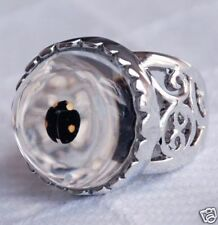 Real ladybug in resin ring white gold plated 001