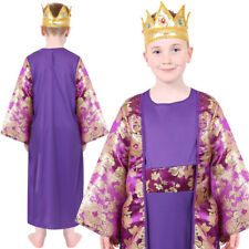 CHILDS WISE MAN COSTUME PURPLE BOYS COSTUME NATIVITY KING CHRISTMAS FANCY DRESS