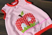 Dawanda Fleece Kleid Gr. 104 110 116 handmade Apfel Applikation Tunika rosa roos