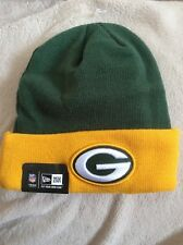 NWT Green Bay Packers Football Beanie Cap Knit Hat Green Yellow NFL New Era