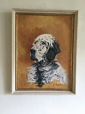 Original Painting on Board of a Retriever Dog Signed Madeleine