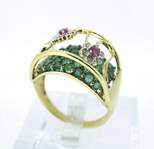 .10 ct tw DIAMONDS 14k Yellow Gold Rubies and EMERALDS Two Levels Ring Size 10