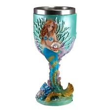 """Mermaid With Pearl Goblet 6.5"""" High 6 Oz. Stainless Steel Interior New In Box!"""