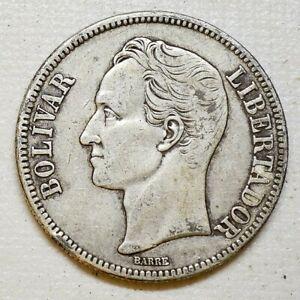 1936 Silver Coin Venezuela Libertador 5 Bolivares Fuerte XF (25)