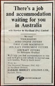 Hawker Siddeley Aviation Ltd. Australia Jobs & Accomodation Vintage Advert 1965