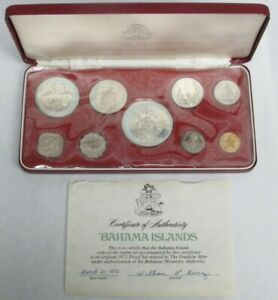 1972 COMMONWEALTH OF THE BAHAMAS FRANKLIN MINT 9 COIN PROOF SET