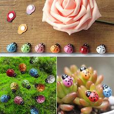 CG_ KQ_ 100x 3D Ladybug Plastic Mini Red Beetle Fairy Miniascape Garden Pot Bons
