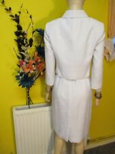 HOBBS WHITE VISCOSE MIX DRESS SUIT SZ 10 FORMAL WEDDINGS CRUISE PARTIES EVENTS..
