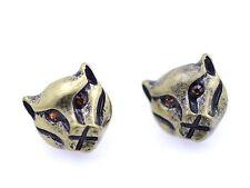 Vintage antique style bronze wolf stud earrings