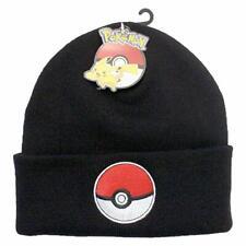 Pokemon Licensed Black Pokeball Design Winter  Beanie Hat Age 8-12 Years