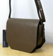 M&S AUTOGRAPH Real LEATHER Boxy Style CROSSBODY BAG in Olive (rrp £89)