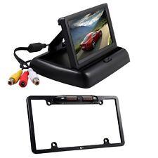 "4.3"" Car LCD Monitor Screen + Rear View 8 IR License Plate Frame Camera"