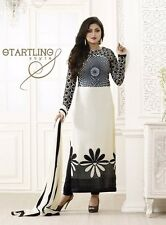 Fancy Bollywood White Designer Indian Women Salwar Suit Dress Casual Embroidered
