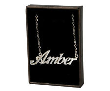 Amber - Name Necklace - 18ct White Gold Plated - Birthday Gift Present