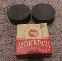 3-Vintage NHL Monarch Official Ice Hockey Pucks One In Original Box