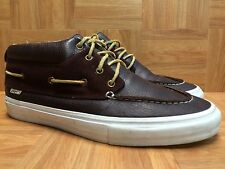 RARE🔥 VANS Proper LBC Long Beach Brown Leather Laced Mid Chukka Boat Boot Sz 13