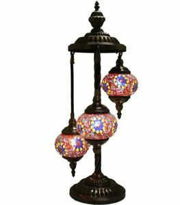 hand made,turkish,moroccan mosaic lamp, glass table 3 lamp light,home decor,gift