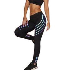 Women's Babigirl Fashion Laser Fitness Yoga Workout Black Leggings XL Large