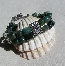 "Green Moss Agate Crystal Gemstone Beaded Bracelet ""Meadow Moss"""