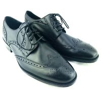 Cole Haan Wingtip Dress Shoes Mens 8.5 Black Lace Up Oxford Derby Casual Brogue