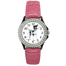 Brazilian Brasileiro Terrier Dog Women's Cubic Zirconia Leather Watch Sgp171