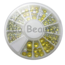 ROUND NAIL ART GEMS JEWELS DESIGN CRAFT NAILS 6CM WHEEL PEARL WHITE / GOLD BACK