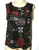 ❤️ CHICO'S Travelers USA Floral Acetate Stretch Shell 3 Tank Top XL GREAT! L@@K!