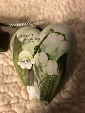 May Sweet Floral White 4 x 4 Resin Stone Collectible Art Heart Figurine