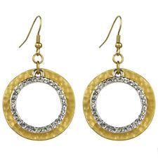Boucles d'oreilles plaqué or doré argenté strass cristal swarovski grand anneau