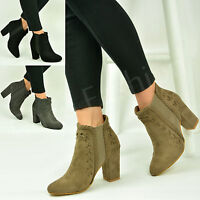 New Womens Chelsea Ankle Boots Ladies High Block Heel Suede Shoes Size Uk 3-8
