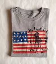 NWT Boys Polo Ralph Lauren American Flag Big Pony Graphic T-Shirt Gray L 14-16