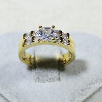 18K Yellow Gold Filled CZ Women Engagement Wedding Band Ring Set R5357 Size 5-10