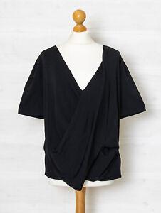 COS M Black Drape Front Boxy V Neck Fine Knit Top