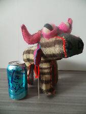 "9"" TALL BULL COW TWOOLIES HANDMADE DECORATIVE WOOL ANIMAL CHILD MEXICO MEDIUM"
