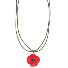 Red Poppy Leather Necklace by Michael Michaud  #8833BZPK