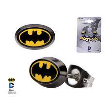 DC Batman Oval Shape Bat Logo Enamel Stud Earrings Officially Licensed Jewellery
