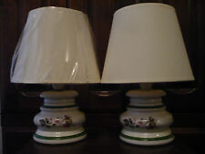 TWO HANDPAINTED PORCELAIN TABLE LAMPS with SHADES EX COND