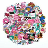 60 Pcs/pack PVC Waterproof Pink Girls Fun Sticker Toys The Luggage Stickers