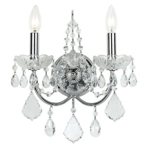 Crystorama Imperial Brass Crystal Wall Sconce Crystal Elements 3222-CH-CL-S