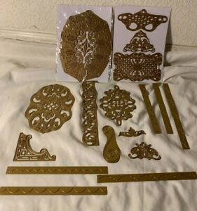 RARE ANNA GRIFFIN Gold Dies Lot of 17 LACE TRIMMINGS & More Flourish Borders