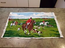 """New listing Vintage 1950s Pure Irish Linen Cloth Towel Hunting Horses Riders Dogs 17"""" x 29"""""""