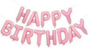 """16"""" PINK SELF INFLATING HELIUM LETTERS HAPPY BIRTHDAY BALLOONS PARTY DECORATION"""