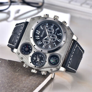 Oulm Mens Big Face Watches Military Dual Time Zone Sport Leather Wrist Watch