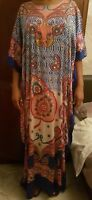 Original Multi Coloured Tunic Free Fit Holiday Beach Dress in Large UK 14 EUR 42