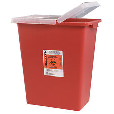 Sharps Container 8 Gallon Red Hinged Lid Multi-Purpose Kendall Covidien 8980