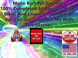 Mario Kart Wii Unlocked Nintendo Wii SD Memory Card Save File